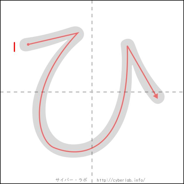 「ひ」の書き順